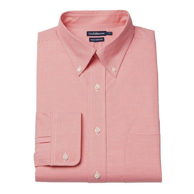 Men's Croft & Barrow® Stretch True Comfort Slim-Fit Easy-Care Dress Shirt, Size: 14.5-32/33, Med Orange