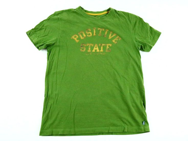 Life is Good Men's T-Shirt Green Cotton Yellow Graphic Positive State Size M #LifeisGood #GraphicTee