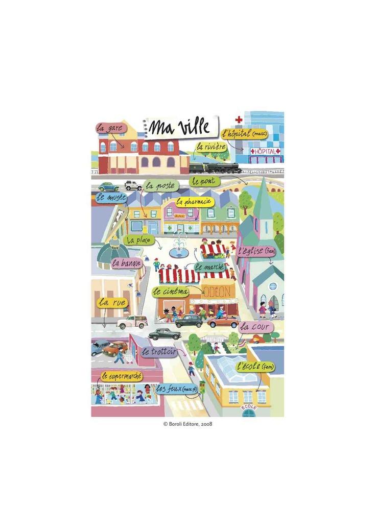 des dessins de vocabulaire: ville, maison, chambre, anniversaire, parc, montagne, plage, forêt