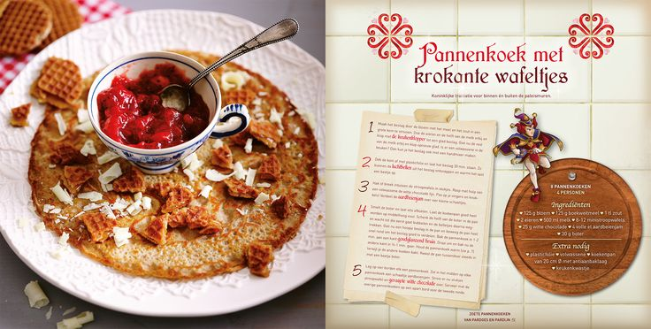 Pannenkoek met krokante wafeltjes. Een heerlijke traktatie! Dit recept komt uit Polles Pannenkoekenboek.