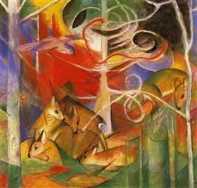 Deer in the Forest - Franz Marc