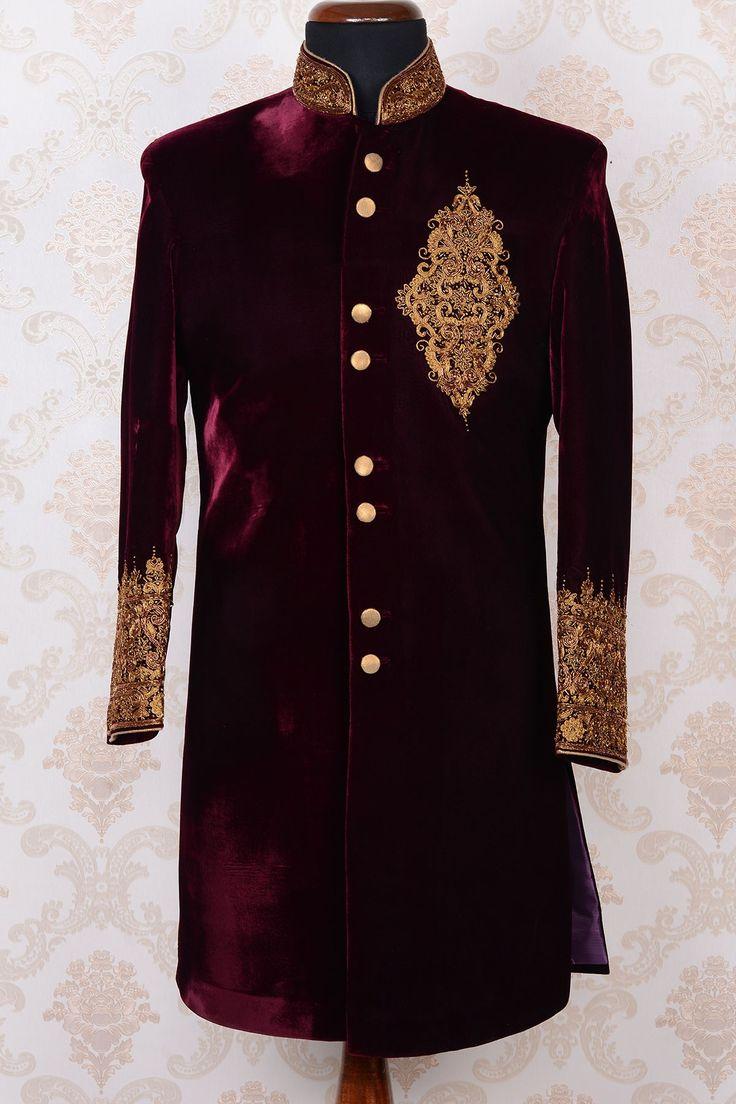 Purple & gold pure velvet fetching indo western sherwani-IW411 - IndoWestern Sherwani/Achkans - Sherwani - Men's Wear