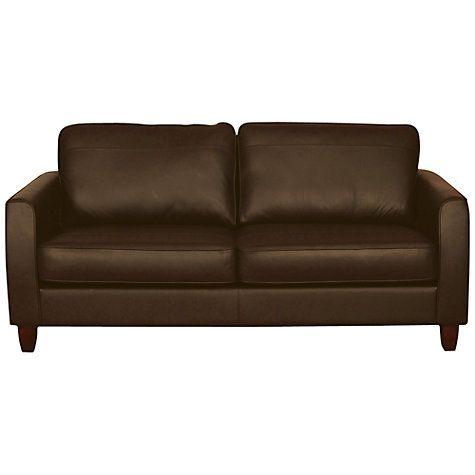 Buy John Lewis Portia Medium Leather Sofa with Dark Legs, Madras Earth Hide Online at johnlewis.com