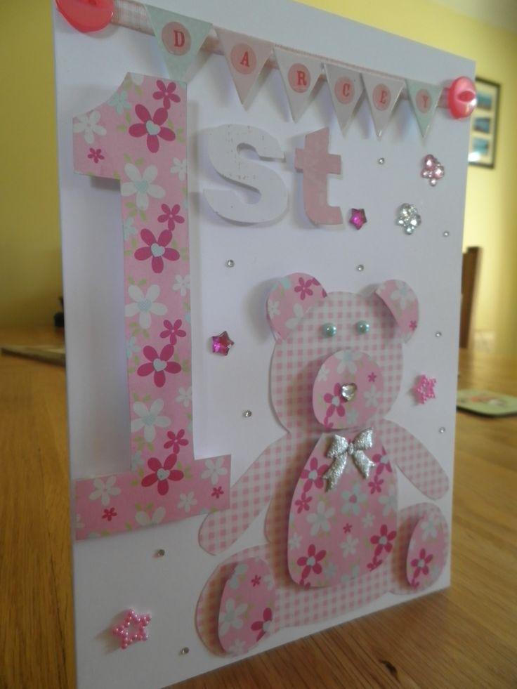Baby Girl 1st Birthday Teddy Bear Card Cards