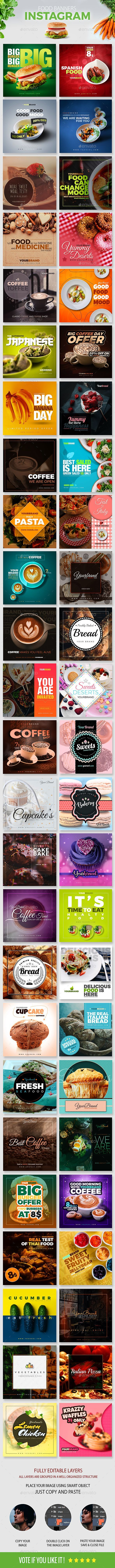 50 Food Instagram Banners — Photoshop PSD #promote #insta • Download ➝ https://graphicriver.net/item/50-food-instagram-banners/20407025?ref=pxcr