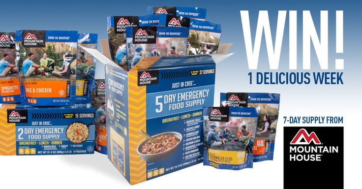 Enter to win a 7-Day Just-In-Case Emergency Food Supply by Mountain House! Ends 3/14/16