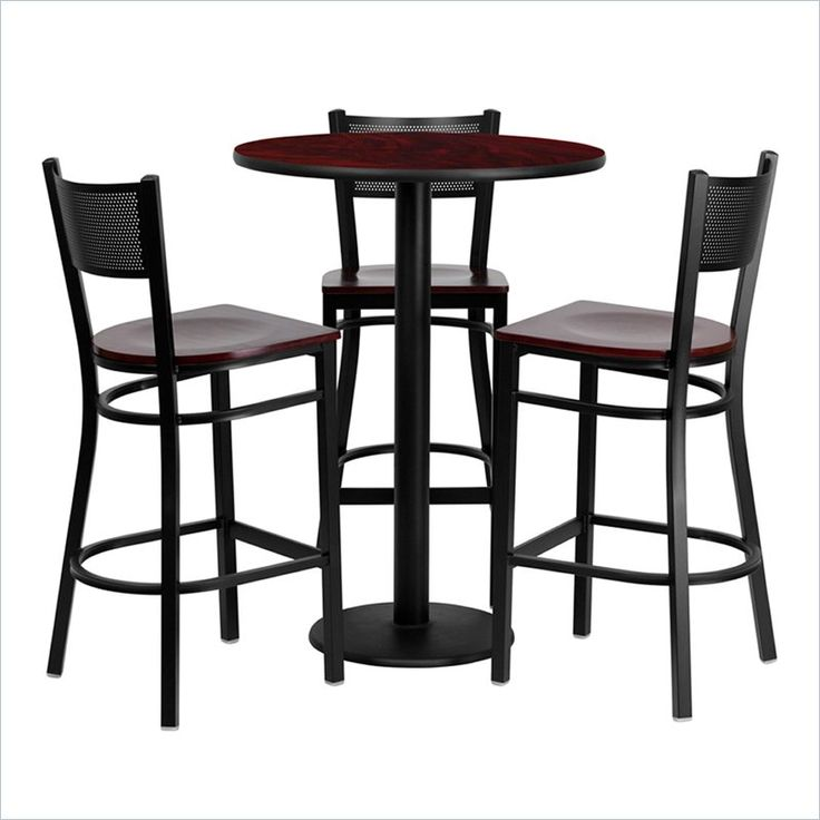 4 Piece Round Table Set in Mahogany and Black. Restaurant Bar StoolsPub ...  sc 1 st  Pinterest & 11 best Work Office Remodel - Bar Table and Chairs images on ...