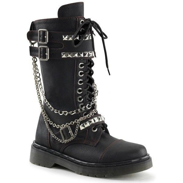 Womens Black Vegan 1.25 Heeled Punk Boots with Chains and Stud Detail ($130) ❤ liked on Polyvore featuring shoes, boots, chain boots, black studded boots, vegan shoes, black vegan boots and faux leather boots