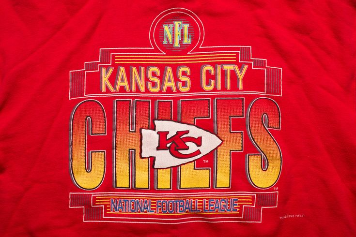 Vintage 90s Kansas City Chiefs Crewneck Ringer Sweatshirt, 1993 NFL Team Shirt