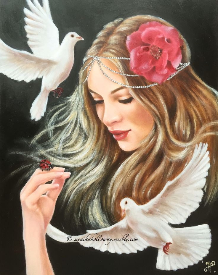 "Hope - oil on gesso board, 11""x14"" Copyright - Monika Holloway  Created for Femme Thou Art Collective"