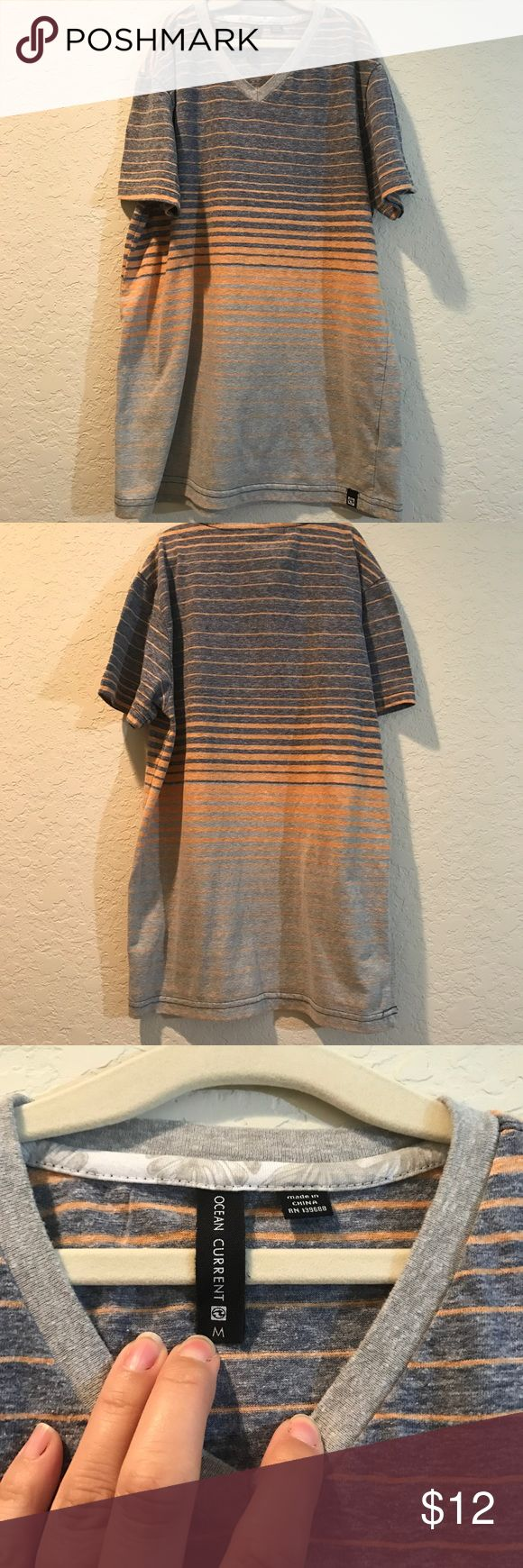 Ocean Current boys shirt Grey v-neck boys shirt with light orange strips. Ocean Current Shirts & Tops Tees - Short Sleeve