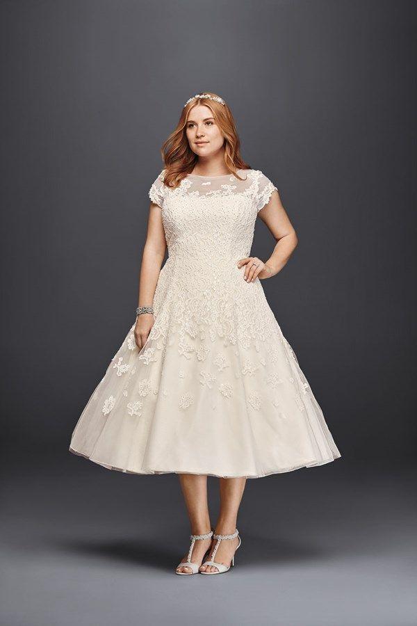 Cap sleeve plus size wedding dress