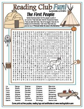 Native American Tribes Printable Word Search Puzzle
