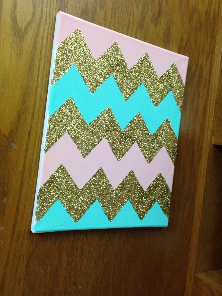 Glitter chevron canvas @Allison Rice Michels  like our dorm!