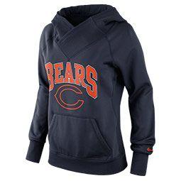 Women's Nike Chicago Bears NFL Wildcard All Time Rib Hoodie| FinishLine.com | Marine/University Orange