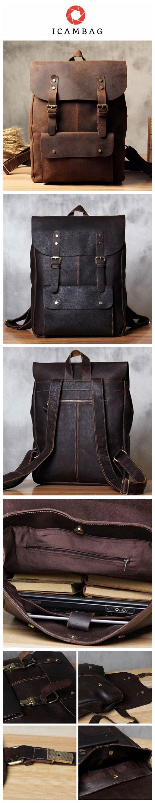 Handmade Vintage Leather School Bag Travel Backpack Laptop Bag Black Men Bag 9452