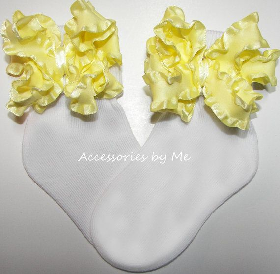 Frilly Yellow #Socks Ruffle #Bows Girls Infant Newborn Toddler Accessories #Wedding Bridal Party #Pageant Recital Dance 1st #Birthday Photo #Portrait Prop #Lemonade Stand - by accessoriesbyme on #Etsy