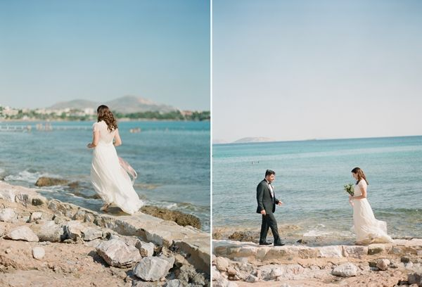 Forget traditions and have a first look. You will have much more time for photos, you will enjoy your dress for a longer time and limit the stress before the walk down the aisle | Romantic Wedding in Greece