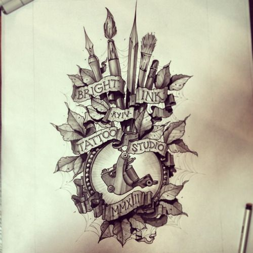 Amazing Pencils With Brush And Banner Tattoo Design
