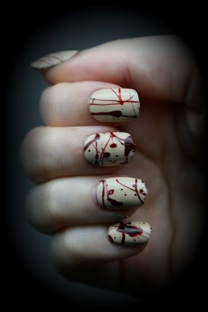 blood splattered nails for Halloween... or whenever you feel exceptionally morbid