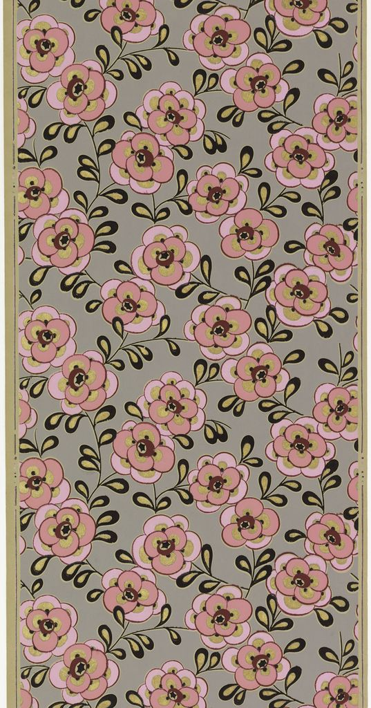 Sidewall, ca. 1930 This French art deco paper is boldly designed, brightly colored, and representative of the period. While beautifully-styled, it does not have a printed ground color. Ungrounded papers were less costly and were printed on a paper stock that is lighter in weight than their grounded peers.