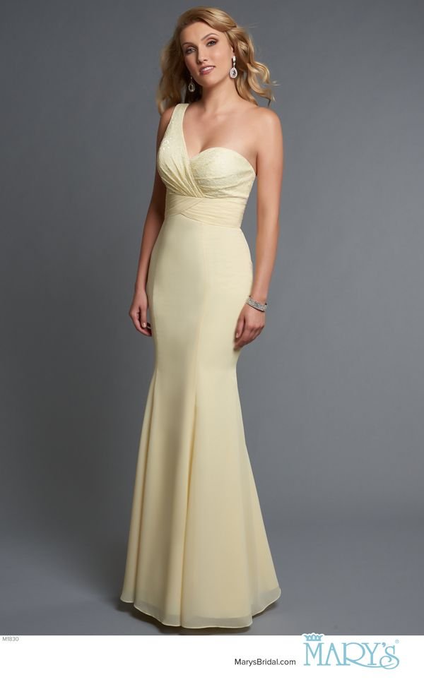 Modern Maids Style M1830 • One shoulder fit and flare bridesmaid gown with sweetheart neck line, lace pleated wrap bodice, pleated waist line, and chiffon skirt.