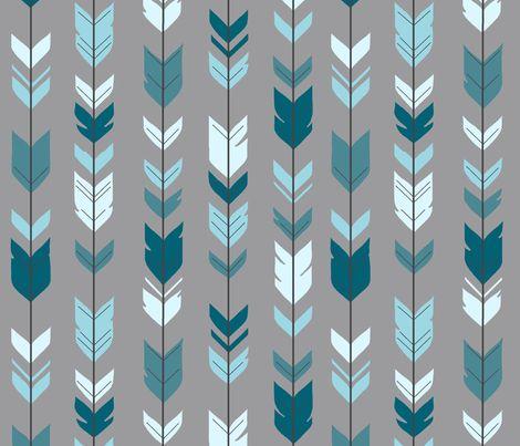 Arrow Feather- Teal/Blue/Grey- Winslow- Baby boy Woodland Nursery fabric by sugarpinedesign on Spoonflower - custom fabric