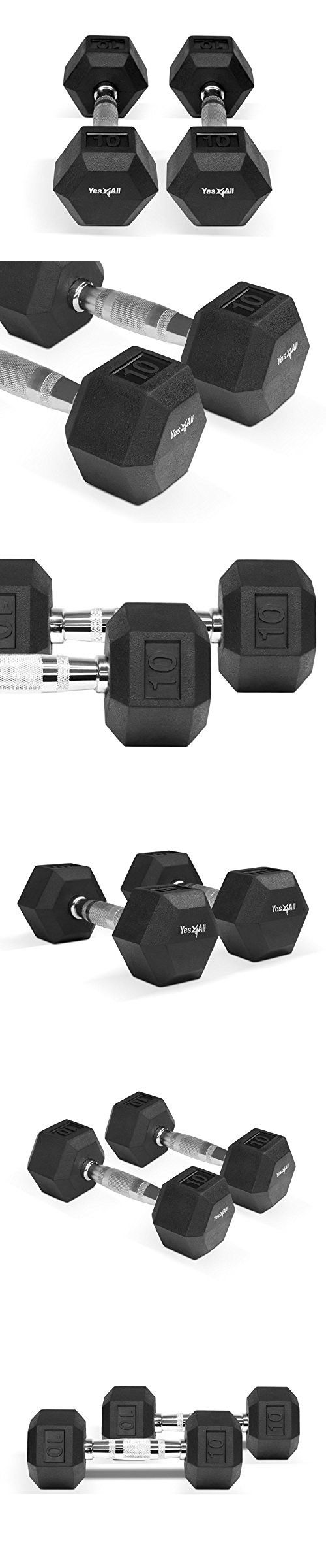 Rubber Coated Hex Dumbbell with Contoured Chrome Handle workouts, PAIR (20 lbs (10 lbs Pair))