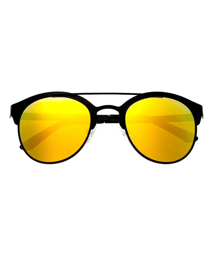 Black & Yellow Phoenix Titanium Browline Sunglasses