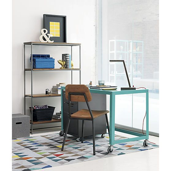 go-cart aqua desk in office furniture | CB2 **This desk also comes in white if you prefer + it is super affordable
