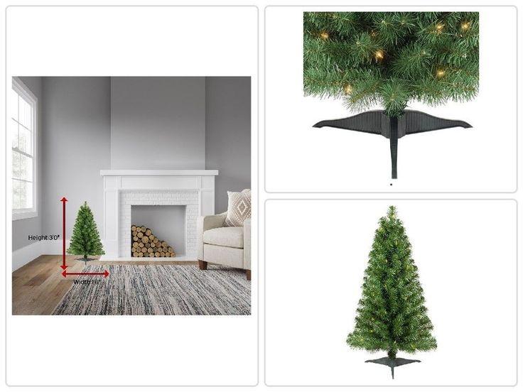 #Christmas #Tree #Decoration 3ft Prelit Slim Artificial Alberta Spruce Clear Lights