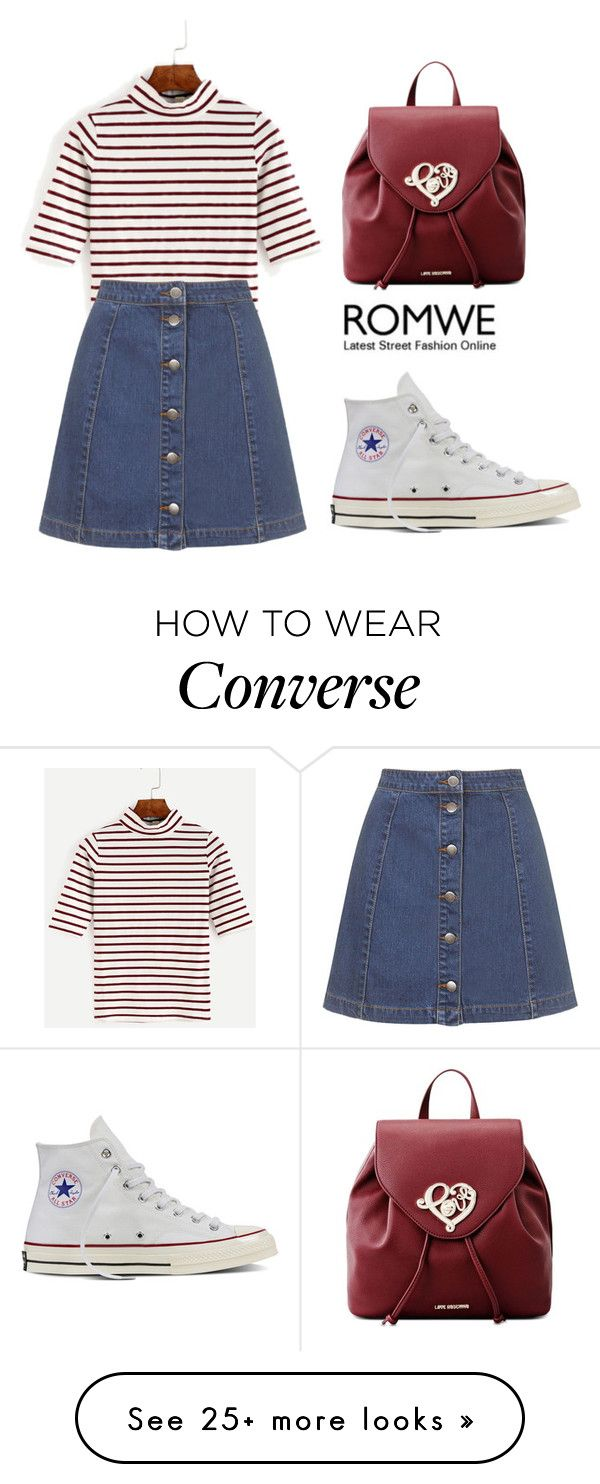 """ROMWE T-Shirt"" by tania-alves on Polyvore featuring Topshop, Converse and Love Moschino"