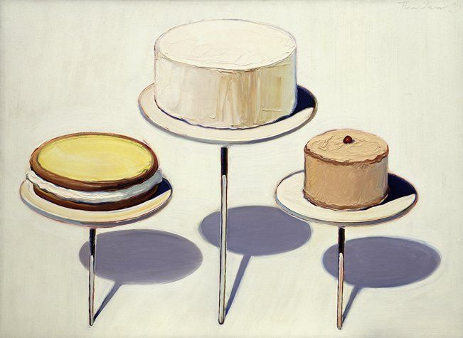 Wayne Thiebaud, Display Cakes, 1963; painting; oil on canvas, 28 in. x 38 in. (71.12 cm x 96.52 cm); Collection SFMOMA, Mrs. Manfred Bransten Special Fund purchase; © Wayne Thiebaud / Licensed by VAGA, New York