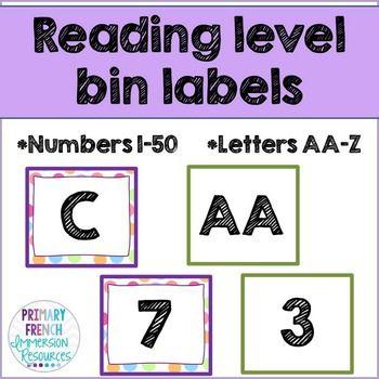 Reading level bin labels! #tpt #teacherspayteachers