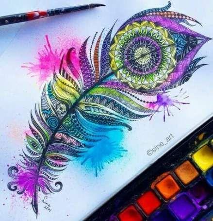 29+ Ideas Tattoo Feather Mandala Draw
