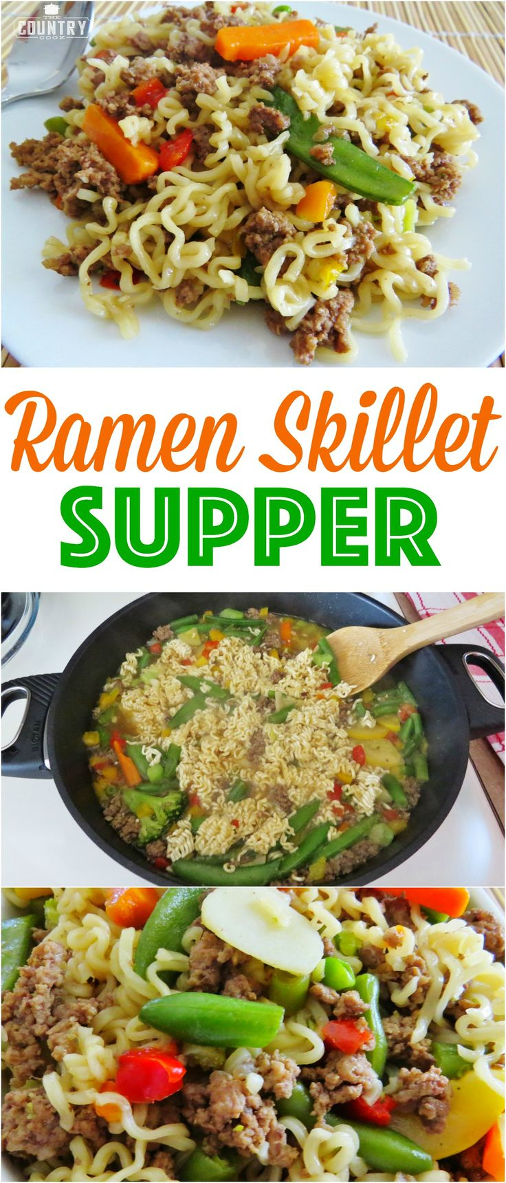 Ramen Skillet Supper recipe from The Country Cook. Less than 30 minutes to make and only 5 ingredients!