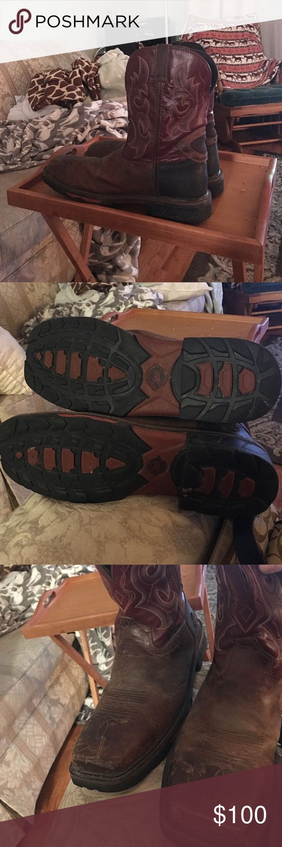 REDUCED AGAIN!! Awesome composite toe Boots Boots Only 2 months old - size 12D - composite toe for extra durability!!! Priced to go - make me an offer Justin Boots Shoes Boots
