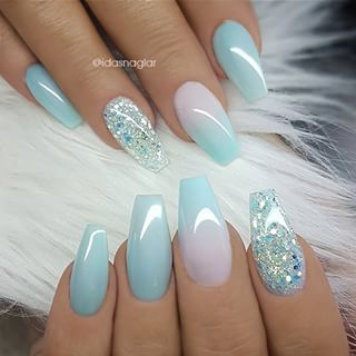 ✨ REPOST – – • – – Pale Turquoise, Ombre and Glitter on Coffin Nails ✨ – -…