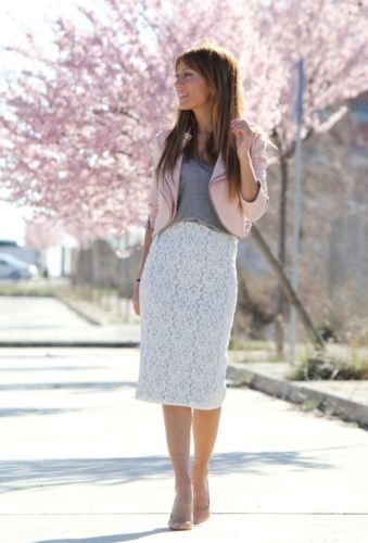 Top 25 ideas about lace on Pinterest | Midi pencil skirts, Skirts ...