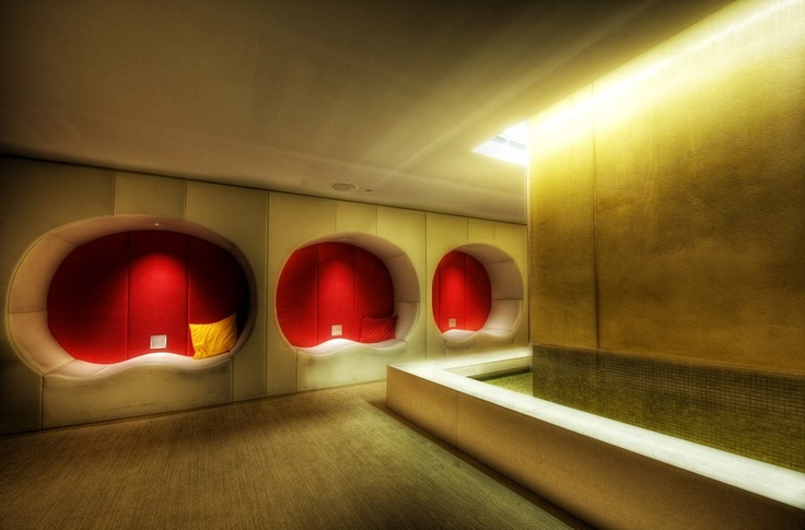 """Cool secret room in Chicago at Sax Hotel. Each """"pod"""" is fully wired for mp3s and other tech goodies and there's a little river flowing on the right. Photo by Trey Ratcliff: Design Techniques, Ambianc Utility, Genuine Tuscan, Utility Today, Home Design, Tuscan Home, Tuscan Ambianc, Today Tuscan, Tuscan Style"""