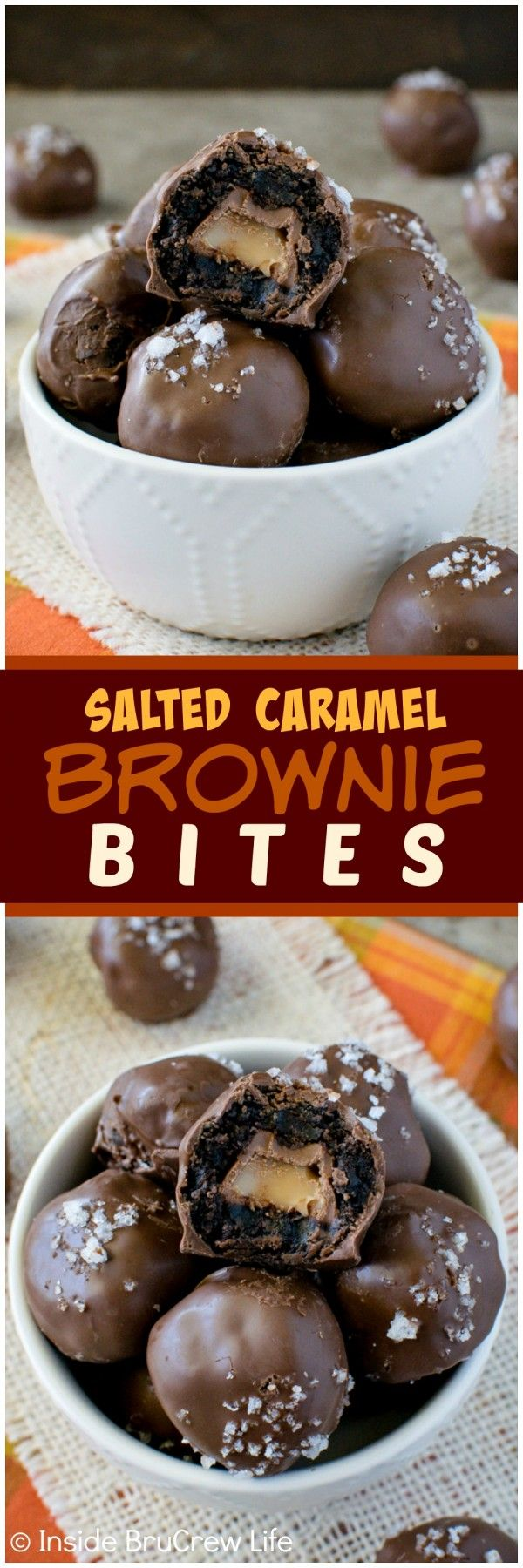Salted Caramel Brownie Bites - hiding caramel candies inside chocolate makes these treats disappear in a hurry.  Great dessert recipe for parties!