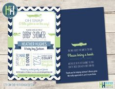 printable boy baby shower invitation, alligator baby shower invite with matching back chevron customize personalize blue green navy