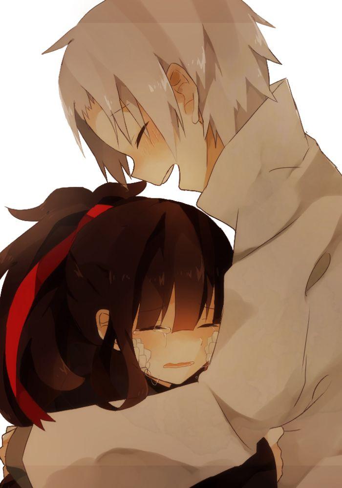 Azami and Tsukihiko #hug #crying