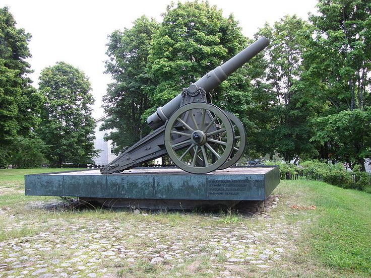 Russian Obukhov 152mm (120 pood) Fortress Gun M77 on a siege carriage.  This piece in Lappeenranta, Finland, is a memorial to the Finnish Artillery School officer course 1918-1919 and was likely used in the Finnish Civil War, 1918-1919.