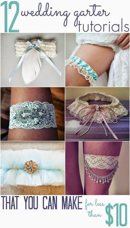 Make one to wear and one to throw!  These DIY garters are pretty enough for pictures, but they won't cost you much to make.  You can personalize them to match your wedding or use sentimental materials.  Each garter costs less than $10 to make! CROCHETED...