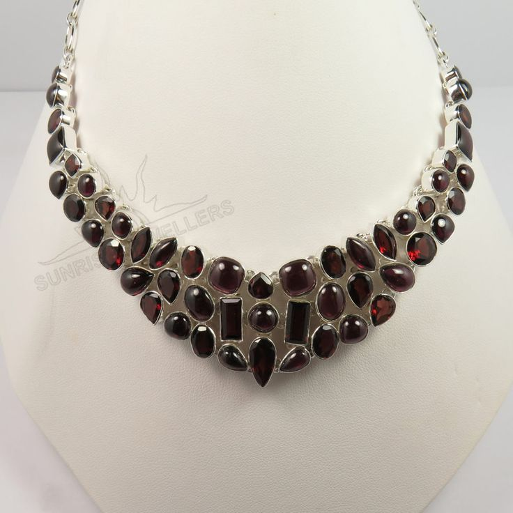 925 Sterling Silver Necklace Jewelry Traditional Genuine GARNET Gemstones #Unbranded