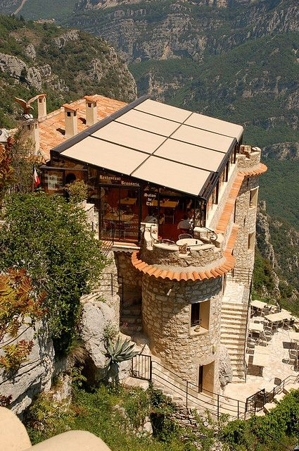 Cliffside cafe in Gourdon, Alpes-Maritimes, France (by Mark Takeshi).