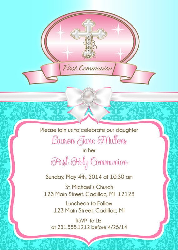 Tiffany Blue First Communion Invitation  Girl's by FabPartyPrints