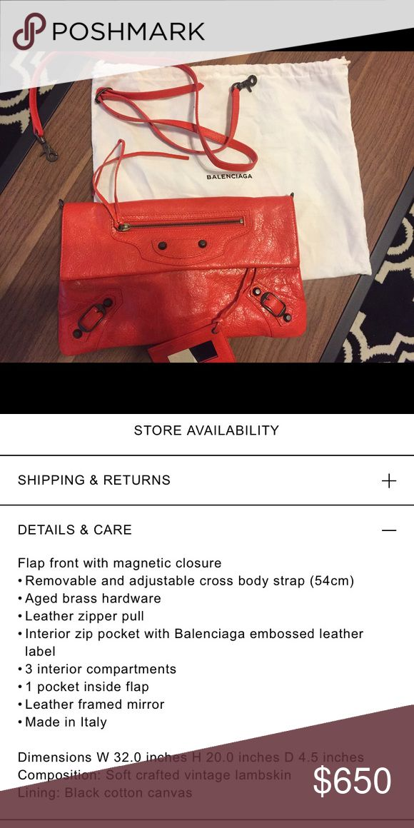Balenciaga clutch Only used twice ! Like new! The color is red in orange tone Balenciaga Bags Clutches & Wristlets