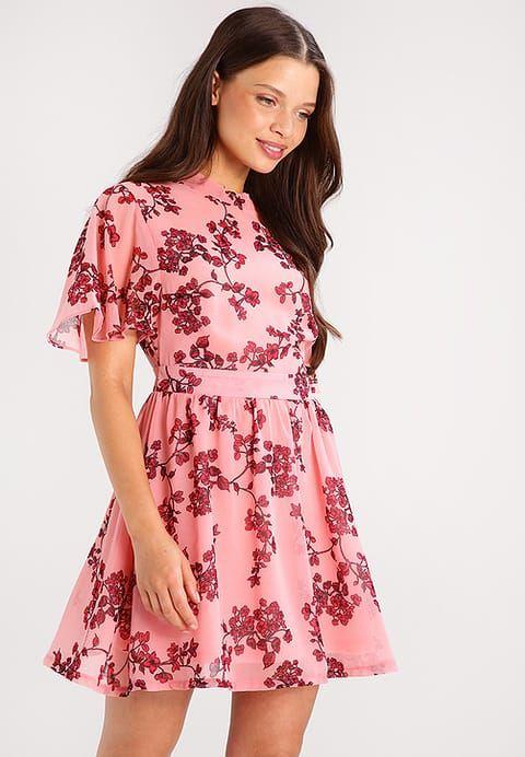 Missguided Petite FLORAL BASE TEA TIE BACK NECK - Summer dress - light pink - Zalando.co.uk